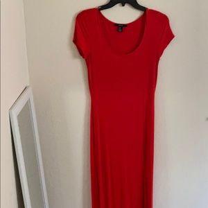 Bright red maxi dress